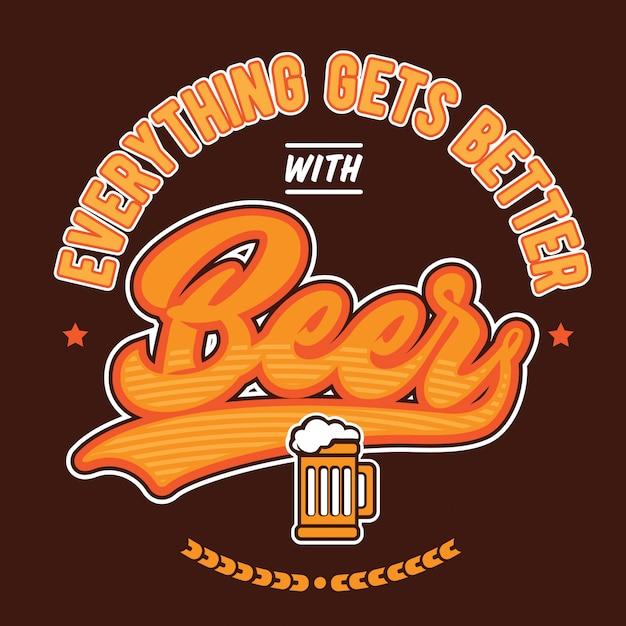 Tudo fica melhor com cerveja Vetor Premium