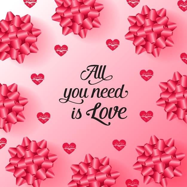 Tudo que você precisa é amor letras com arco e coração padrão Vetor grátis