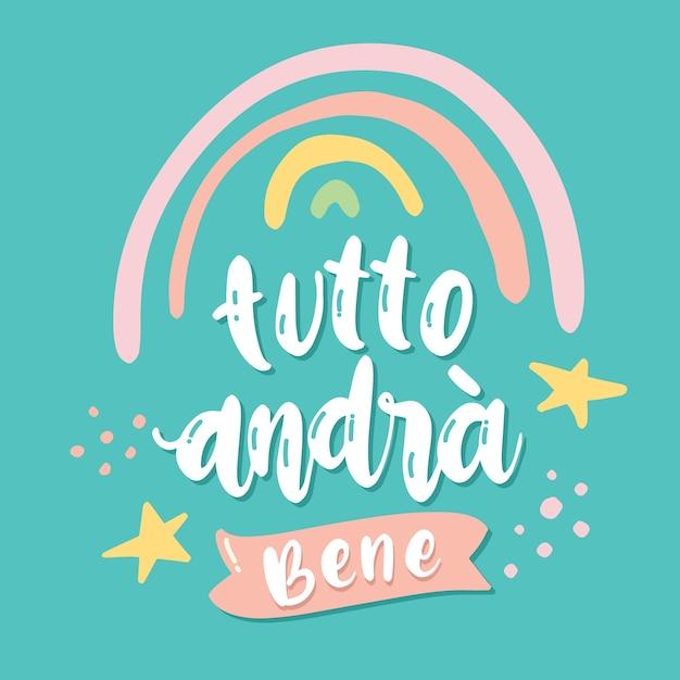 Tudo vai ficar bem em italiano Vetor grátis