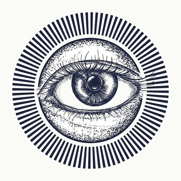 Tudo vendo tatuagem de olho Vetor Premium