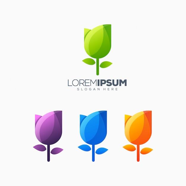 Tulipa colorida logo design ilustração vetorial Vetor Premium
