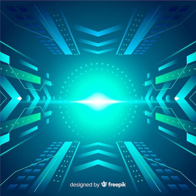 Túnel de luz tecnológico fundo design plano Vetor grátis