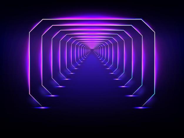 Túnel futurista interminável, brilhando o vetor de iluminação de néon Vetor Premium