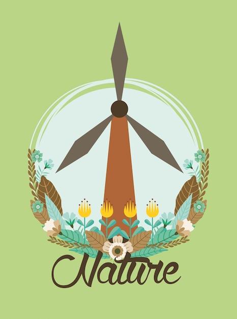 Turbina de energia eólica com projeto de ilustração vetorial jardim de flores Vetor Premium
