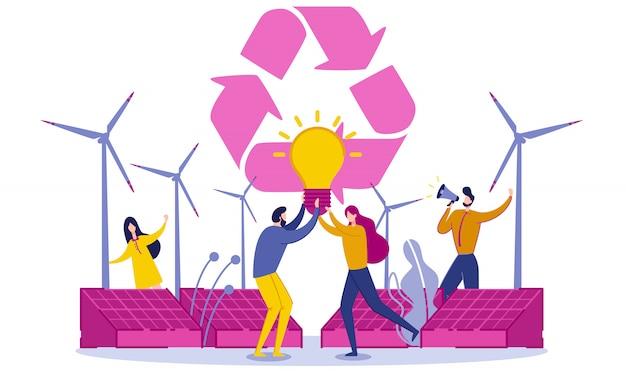 Turbinas eólicas ou geradores e painéis solares. Vetor Premium