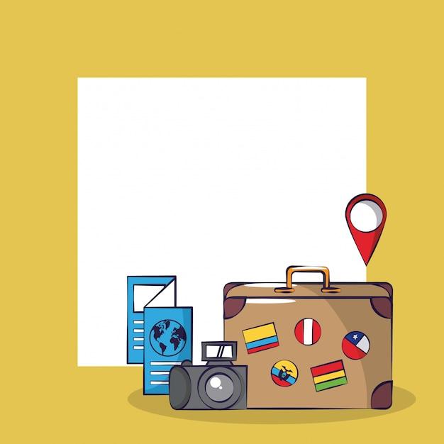 Turismo de viagem emocionante cartão de viagem quadrado fundo do quadro Vetor Premium