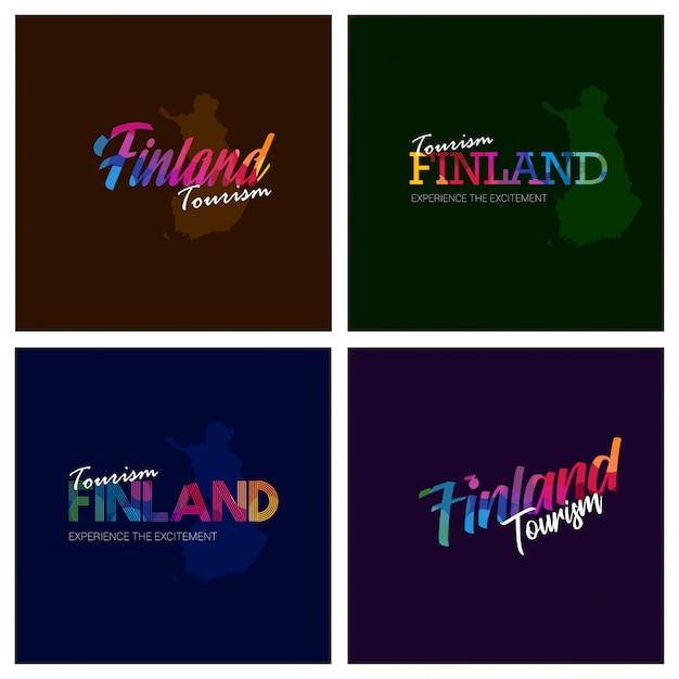 Turismo finlândia tipografia logotipo fundo conjunto Vetor grátis