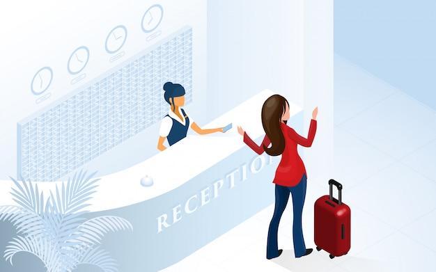 Turista de mulher chegando no lobby do hotel moderno Vetor Premium