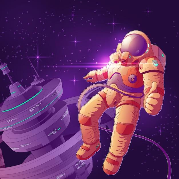 Turista do espaço que tem o divertimento na ilustração dos desenhos animados da órbita. Vetor grátis