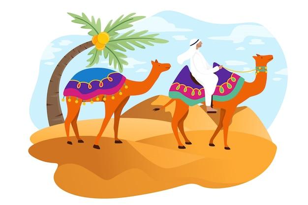 Turistas árabes andam em dubai Vetor Premium