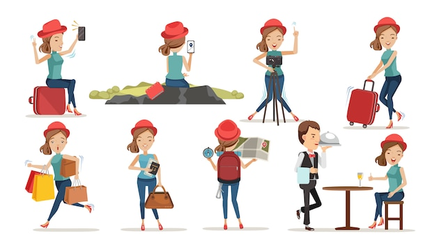Turistas do sexo feminino. conceito de viagem única vida. Vetor Premium
