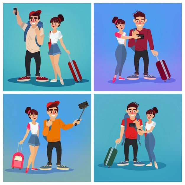 Turistas fazendo selfie. banner de viagem Vetor Premium