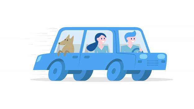 Turistas viajando de carro Vetor Premium