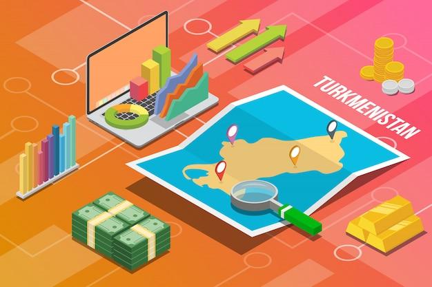 Turquemenistão turkmenia isométrica negócios economia crescimento país Vetor Premium