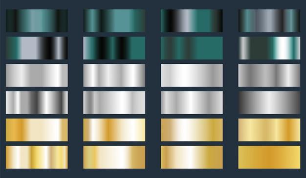Turquesa, prata e ouro folha metálica textura conjunto. Vetor Premium