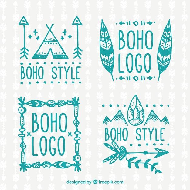 Turquoise coleção logos boho Vetor grátis