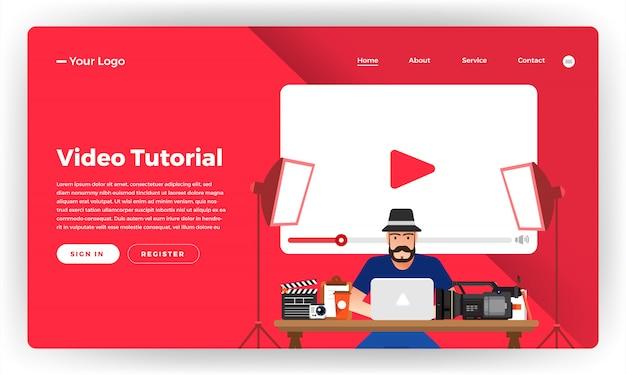Tutorial em vídeo do conceito do site. ilustração. Vetor Premium