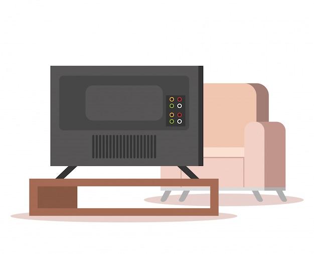 Tv de plasma na sala de estar Vetor grátis