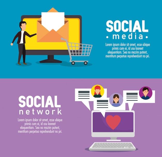 Tv e computador com mensagens de bolhas de bate-papo social Vetor grátis