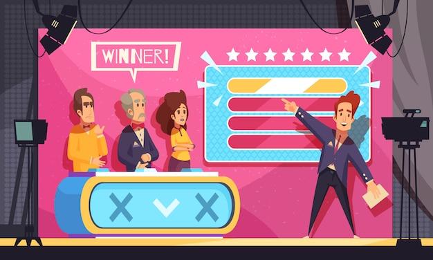 Tv popular jogo de palavras de adivinhação programa de televisão composição final dos desenhos animados com o vencedor dos concorrentes Vetor grátis
