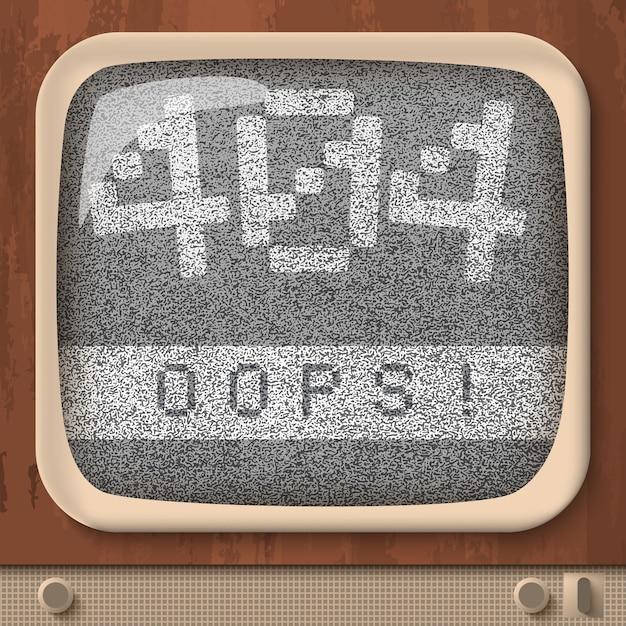 Tv retro com erro de página não encontrada na tela Vetor Premium