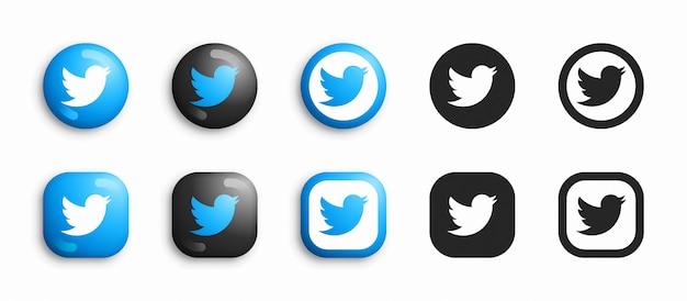 Twitter 3d moderno e conjunto de ícones plana Vetor Premium