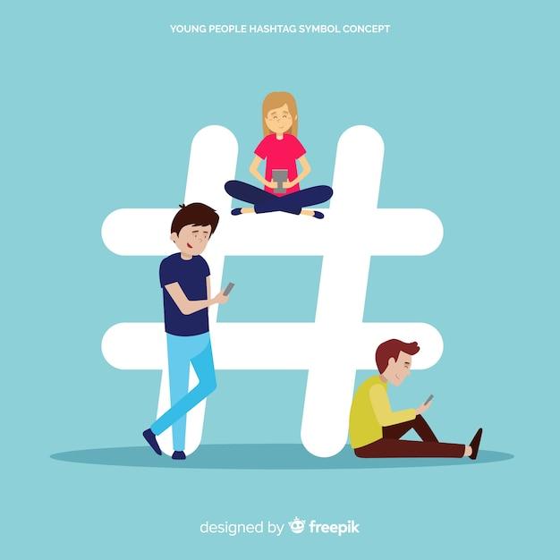 Twitter hashtag. adolescentes em mídias sociais. design de personagem. Vetor grátis