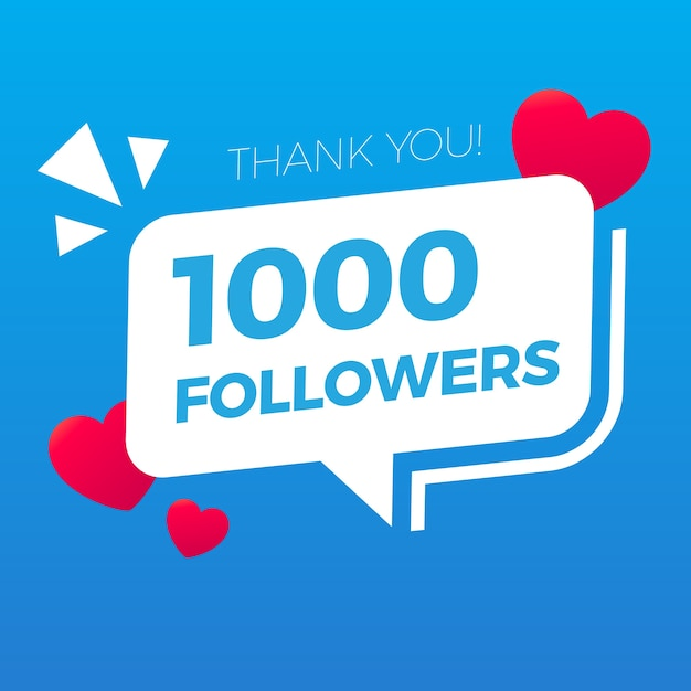 Twitter obrigado mil seguidores Vetor Premium