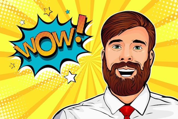 Uau pop art hipster masculino surpreendeu o rosto Vetor Premium