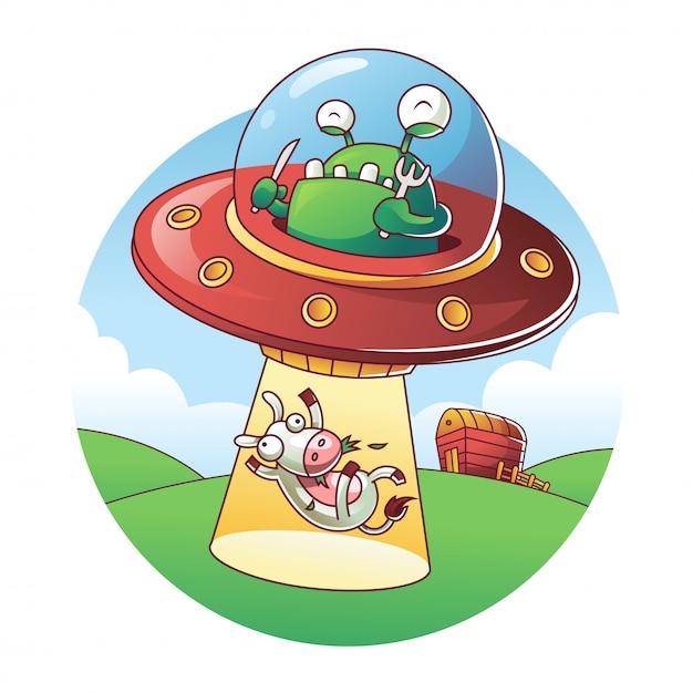 Ufo raptando uma vaca Vetor Premium