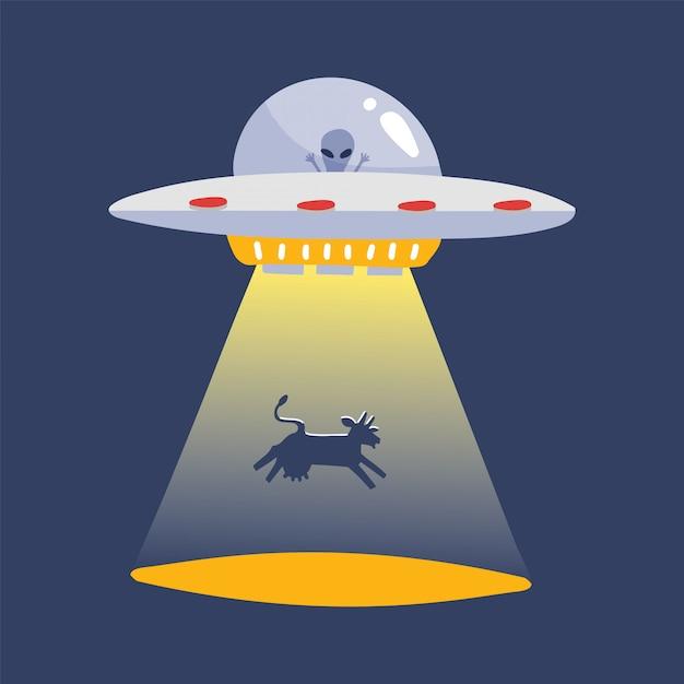 Ufo seqüestrando uma silhueta de vaca. nave espacial estrangeira, etiqueta de desenho animado futurista objeto voador desconhecido isolada. ilustração plana Vetor Premium