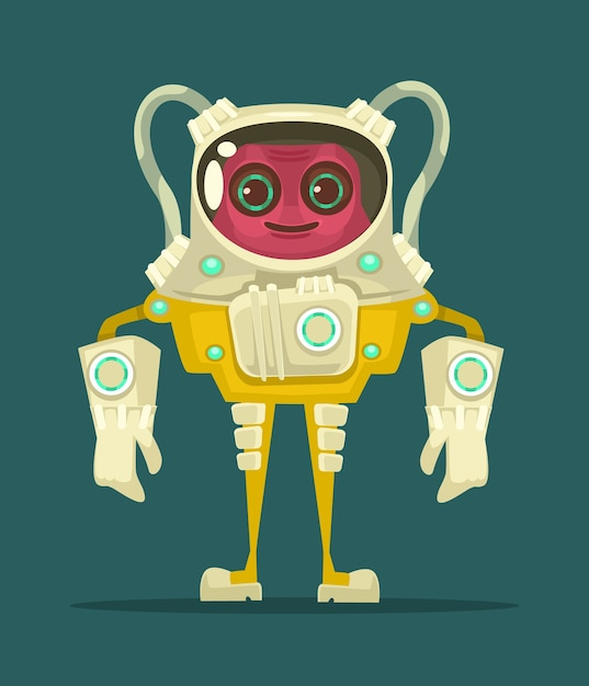 Ufo sorrindo personagem alienígena. Vetor Premium