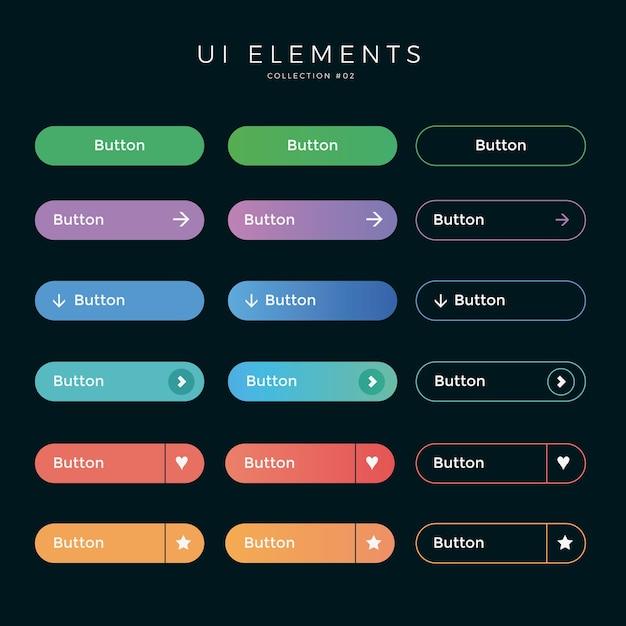 Ui arredondado botões web design Vetor Premium