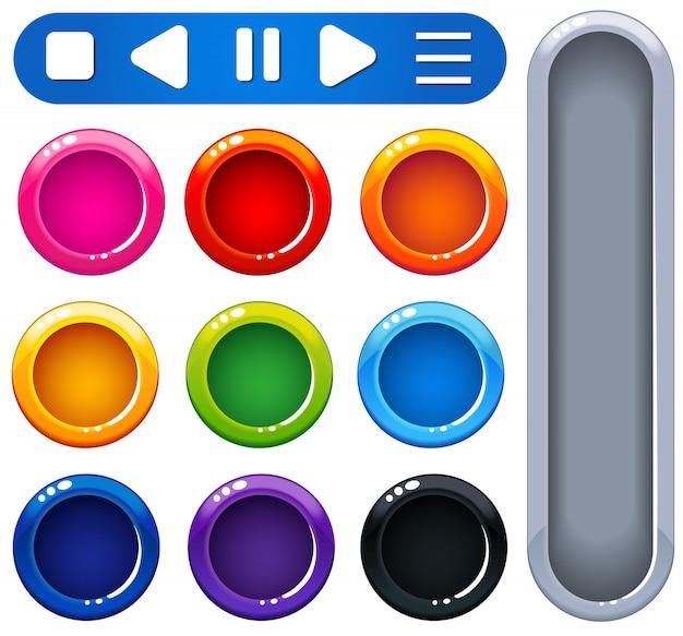 Ui design botões coloridos brilhantes Vetor Premium
