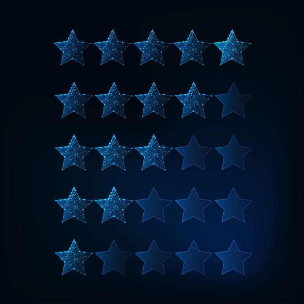 Um a cinco estrelas sistema de classificação. futurista brilhantes baixas estrelas poligonais. Vetor Premium