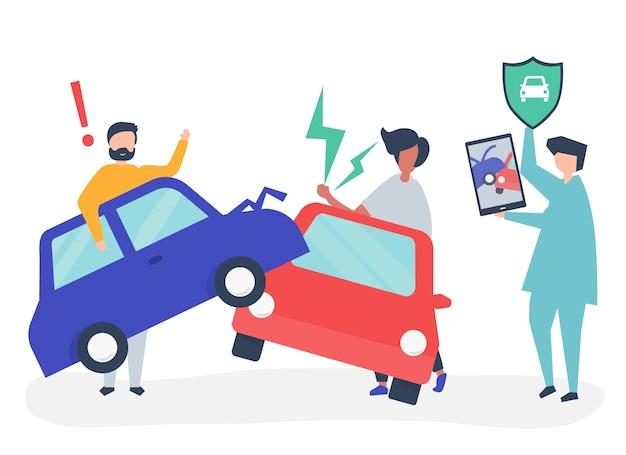 Um agente de seguros, resolvendo um acidente de carro Vetor grátis
