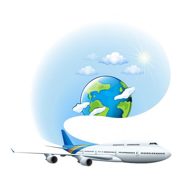 Um avião e um globo Vetor grátis