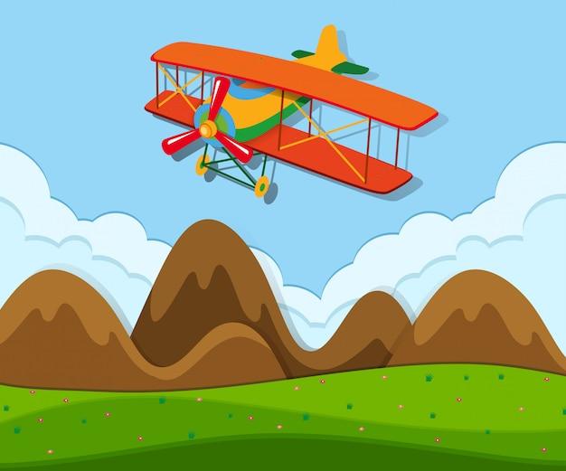 Um avião voando acima do solo Vetor Premium