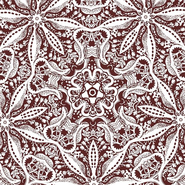 Um azulejo quadrado com elementos florais, desenho monocromático Vetor Premium