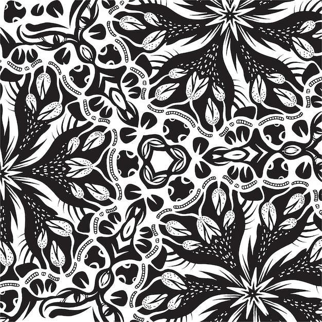 Um azulejo quadrado com elementos florais, desenho preto e branco Vetor Premium