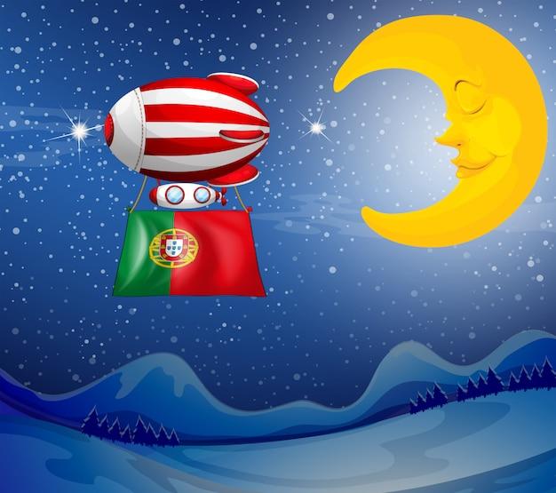 Um balão flutuante com a bandeira de portugal Vetor grátis