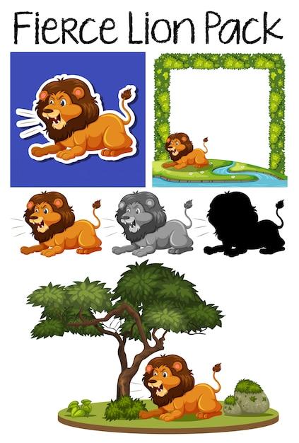 Um bando de leão feroz Vetor Premium