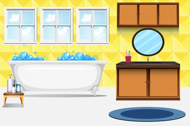 Um, banheiro, interior, fundo Vetor grátis
