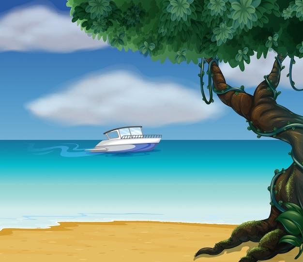 Um barco no meio do mar Vetor grátis