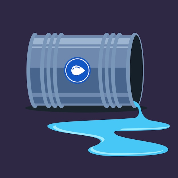 Um barril de água caiu e saiu. formação de poças. ilustração plana. Vetor Premium