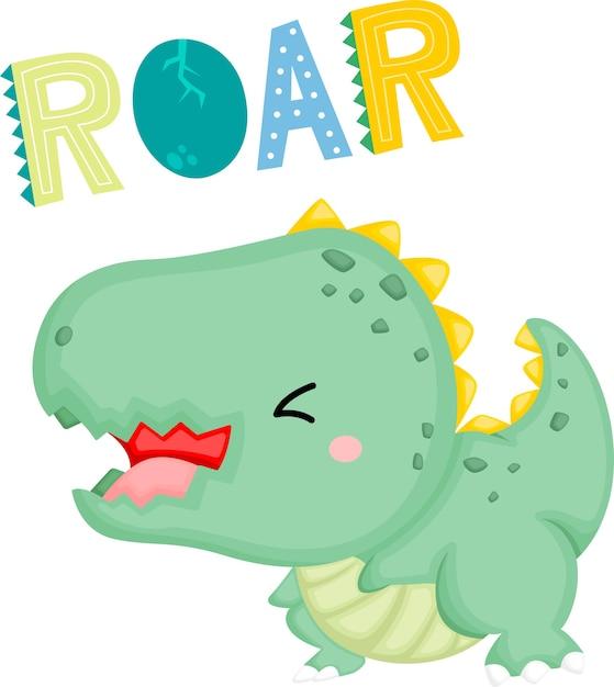 Um bebê dinossauro fofo com uma expressão fofa que ruge Vetor grátis