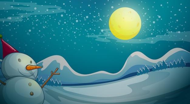 Um boneco de neve sob a lua brilhante Vetor grátis