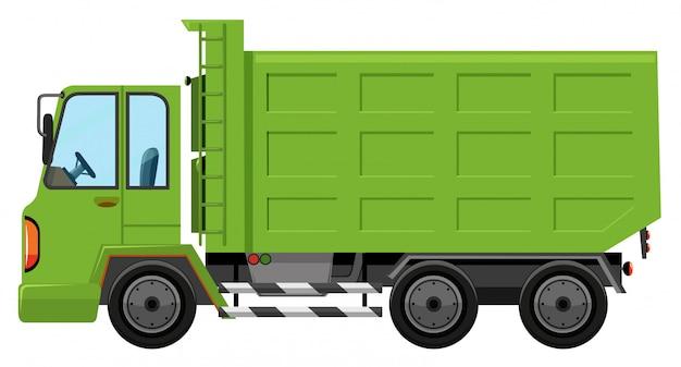 Um caminhão de lixo no fundo branco Vetor grátis