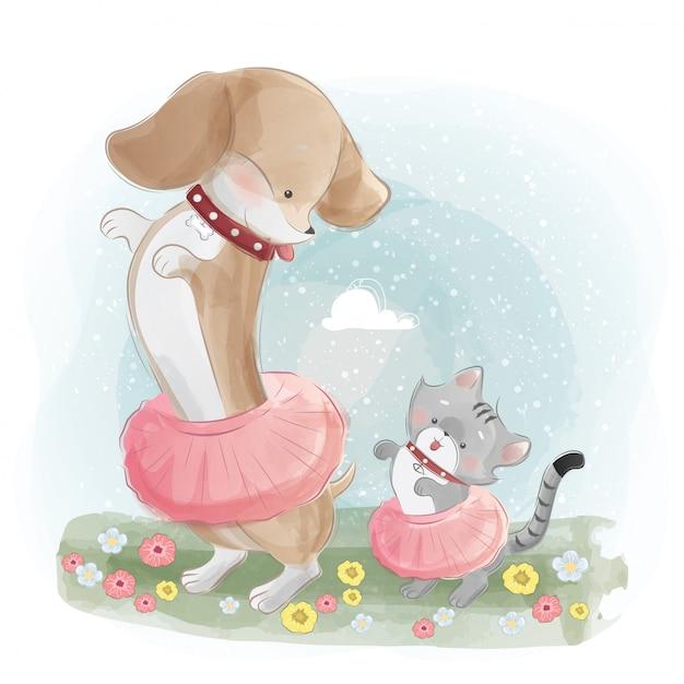 Um cão de salsicha dançando com o gatinho pequeno Vetor Premium