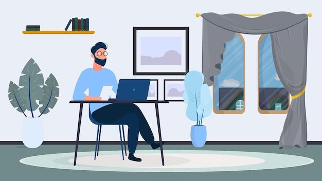 Um cara de óculos está sentado a uma mesa em seu escritório. um homem trabalha em um laptop. escritório, estante, homem de negócios, abajur. conceito de trabalho de escritório. . Vetor Premium
